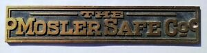 The Mosler Safe Company Heavy Brass Name Plate Plaque