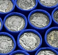 90% Silver Barber Dime on Lincoln Wheat Penny Roll Vintage Old US Coins Bullion!