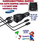 CARICA BATTERIA RAPIDO DA AUTO DOPPIA USCITA + 2 CAVI USB GALAXY J1 J3 J5 J7 J9