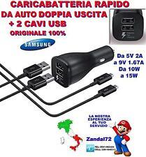 CARICA BATTERIA RAPIDO DA AUTO DOPPIA USCITA + 2 CAVI USB GALAXY S6 S7 NOTE 5