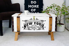 Vintage Couchtisch Holz Beistelltisch Holztruhe Kiste Shabby chic truhe weiß NYC