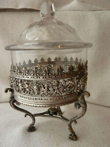 CENTER-PIECE RARE SILVER PLATED & CRYSTAL BOWL 19 C FRENCH