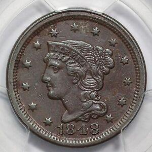 1848 N-28 PCGS XF 45 Braided Hair Large Cent Coin 1c