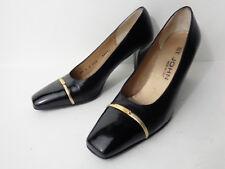 ST JOHN US 6N Black Patent & Smooth Leather Classic Medium Heel Pump Shoe ITALY
