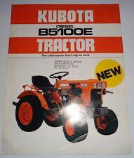 Kubota B5100E Diesel Tractor Spec Sheet Sales Brochure literature ad dealers
