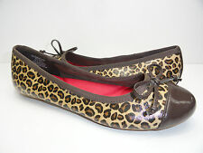 Women's Sperry Top-Sider Elise Rope Brown Leopard Ballet Flats Boat Shoe 6