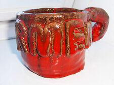 Blumentopf-Krug-Tasse.wein-rot Handarbeit-Töpferei mit Schriftzug: Carmen