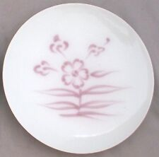 OLD CHINESE/JAPANESE PORCELAIN PLATE~STAMPED~HAND PAINTED~WHITE~PINK FLOWERS~6""