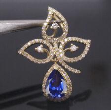 2,00KT 585er Gelb Gold Natürlich Blau Tansanit EGL Zertifiziert Diamant Anhänger