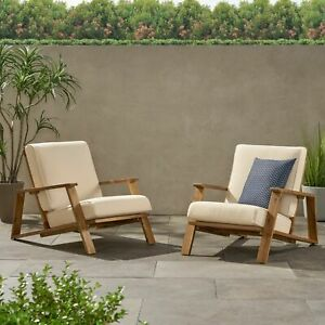 Youssef Outdoor Acacia Wood Club Chairs with Cushions (Set of 2)