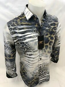 Mens PREMIERE WHITE TIGER LEOPARD ANIMAL Long Sleeve BUTTON UP Dress Shirt 657
