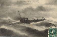 TOULON torpilleur de défense mobile par gros temps marine nationale timbrée 1910