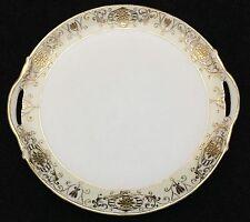 Noritake 175 16034 Christmas Ball Round Handled Cake Plate Platter Gold Design