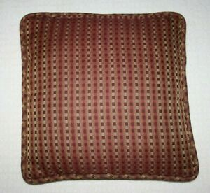 """Viliant Decorative Accent Pillow Sofa Couch Burgundy Checkered 18""""x18"""" Made USA"""