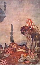 """Edmund DULAC vintage stampa montata, 14 x 11"""", Tempesta di Shakespeare SIRENA ED16"""