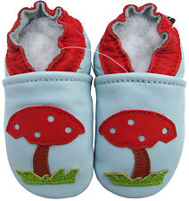 carozoo mushroom light blue 18-24m soft sole leather baby shoes