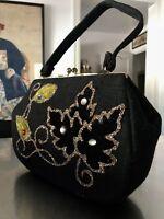 Classic 50s Vintage Black Felt-Wool Gold Floral Glass Bead Embellished Handbag