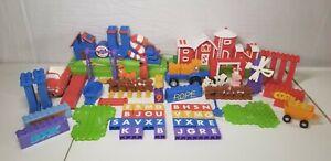 """Huge """"Word World"""" Lot Mega Bloks Set Barn House Additional Figures Car Tractor"""