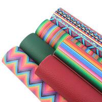 6 Pcs Geometric Series Printed Faux Leather Sheet Bundle Assorted Set DIY Crafts