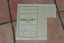 OBLIGATION 5000 FRANCS 1954 SYNDICAT EAUX DE L'AUVEZERE (CORREZE) N°768 BON ETAT