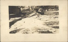 Medford MA Disaster - Collapsed Porch of Home Hail Storm Weath c1910 RPPC