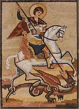 Saint George Dragon Slay Religious Decor Marble Mosaic FG1014