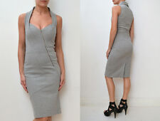 WILLOW Grey Marle Fitted Ponti Sleeveless Asymmetric Zip Panel Dress KITX 8 $595