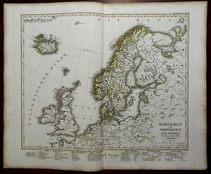 North Sea British Isles Scandinavia Iceland Ireland 1857 Stulpnagel detailed map