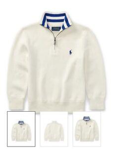 New $55+ tax Boys Polo Ralph Lauren Pullover Half Zip Sweater Large 14-16 cream