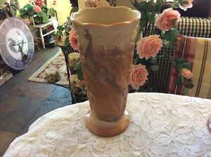 "Fenton Chocolate Signed 9 3/4"" Peacock Vase 2007 Rosenthal Collection"