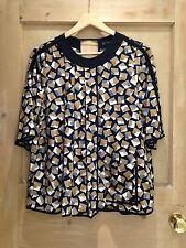 Zara TOP size S 8 10 BLACK Brown white Geometric PRINT BNWT