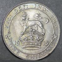 George V Sterling Silver Shilling, 1915, Lovely Tones, aUNC