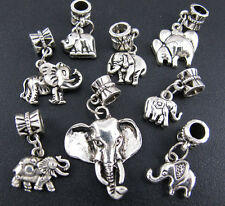 100pcs Lots Mixed Elephant Charms Silver Dangle Beads Fit European Bracelets