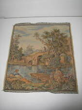 "Antique European Tapestry Wall Hanging Boy/Stone Bridge 16""x 18"""