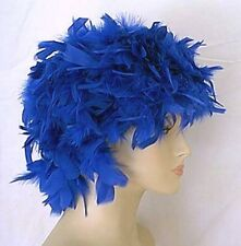 Royal Blue All Feather Headpiece Costume Wig Dance Showgirl Burlesque Cosplay