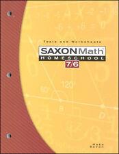 Saxon Math 76 Tests & Worksheets Book Fourth Edition 6th Grade NEW!
