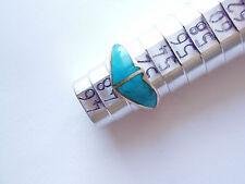 """Bague argent turquoise""""papillon""""poinçonné taille 50 vieillie stock ancien limité"""