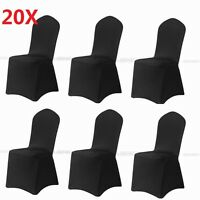 20pcs Black Spandex Fitted Folding Chair Covers Wedding Party Banquet Reception