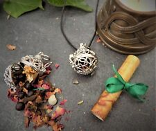 """Wiccan   Herb Amulet for Wealth & Abundance  Pendant 24"""" Long  Filigree Boxed"""