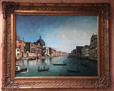 20th century large oil painting on canvas signed J.Gleen gilt frame
