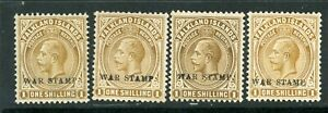 Falkland Islands 1918 War Tax 1/- shades selection UM/MM (MNH/HM)