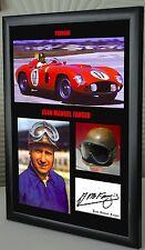 """Juan Manuel Fangio F1 Ferrari Enmarcado Lona impresión firmada """"Gran Regalo"""""""