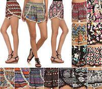 Pompom High Waist Tassel Trim Tribal Print Beach Casual Shorts