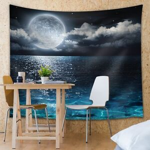 Wall26® - Crystal Blue Waters Beneath a Full Moon - Fabric Tapestry- 51x60