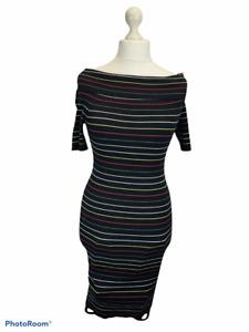 Next Black Multi Stripe Short Sleeve Ribbed Knit Dress Cowl/Bardot Neck Size 14