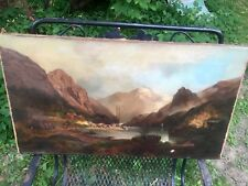 antique oil painting Original On Canvas (1890s) Unframed Unsigned  Hudson Style
