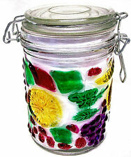 "WIRE BALE JAR - ALMOST 6"" TALL  - FRUIT PATTERN - HOLDS JUST SHORT OF 3 CUPS"