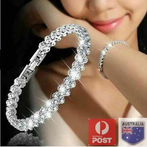 Ladies Silver Crystal Cubic Zirconia Roman Tennis Bracelet Jewellery Party Prom