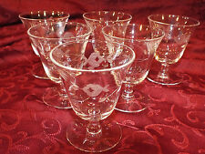Set of 6 Old Stemmed Floral Wheel Cut / Etched Oyster or Fruit Cocktail Glasses