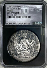 2017 Cook Islands  Apollo  Gods of Olympus $2  2oz  Silver NGC Gem Antiqued